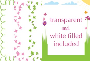 SALE- SPRING Page Borders for 8.5 x 11 US Letter, Commercial Use