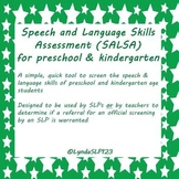 SALSA: Speech & Language Skills Assessment (preK & Kindergarten version)