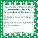 SALSA: Speech & Language Skills Assessment (preK & Kinderg
