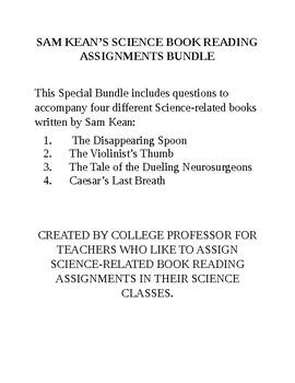 SAM KEAN'S 4 BOOK READING QUESTIONS SPECIAL BUNDLE