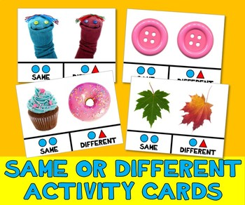 SAME & DIFFERENT ACTIVITY TASK CARDS w PECS PHOTO PICTURES autism speech therapy