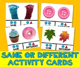 SAME & DIFFERENT PHOTO TASK CARDS autism aba speech therapy pecs activity