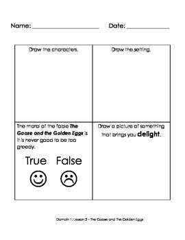SAMPLE 1st Grade Common Core Listening and Learning Domain 1 Fables Activities