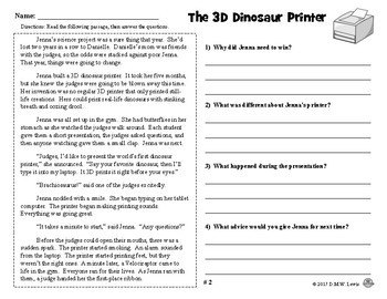 SAMPLE 2 Dinosaur Reading Comprehension Passages: Fall Reading Fun