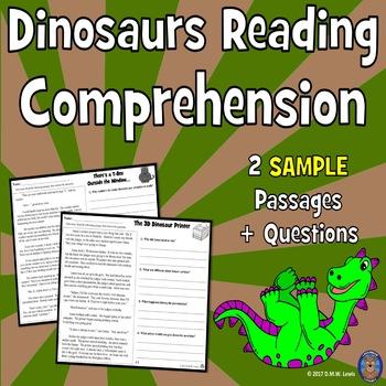 SAMPLE 2 Dinosaur Reading Comprehension Passages: Spring Reading Fun