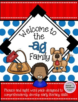 SAMPLE -AG WORD FAMILY PHONICS AND SIGHT WORD WORK EARLY LITERACY DECODING