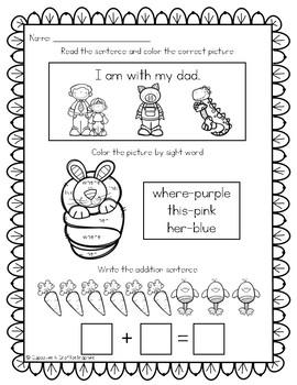 SAMPLE Easter-March/April Morning Work or Homework for Kindergarten