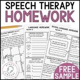 SAMPLE FREEBIE Articulation, Language, and Social Language Homework