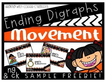 SAMPLE FREEBIE - Ending Digraphs Movement Interactive Game (NG and CK)