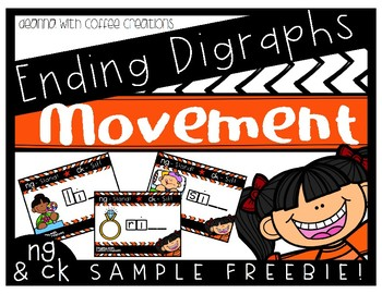 SAMPLE FREEBIE - Ending Digraphs Movement Interactive Game