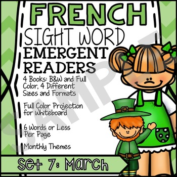 FREE: FRENCH Book for Emergent Reader - High Frequency Words Set 7 SAMPLE: March