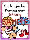 SAMPLE February or Valentine's Day Morning Work or Homework for Kindergarten