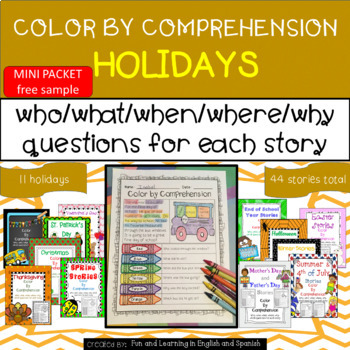 SAMPLE - Holidays Throughout Year MINI-Bundle - Color by Comprehension Stories