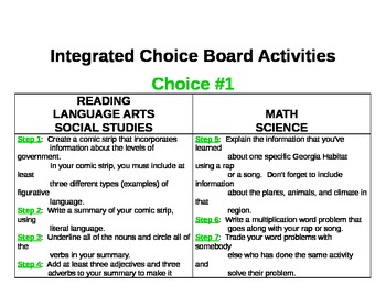 *SAMPLE* Integrated Choice Board