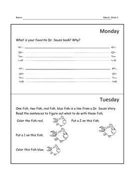 *SAMPLE* Kindergarten Homework for March
