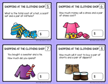 FREE SAMPLE Money Word Problems Task Cards The Clothing Store