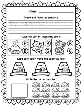 SAMPLE November Morning Work Kindergarten