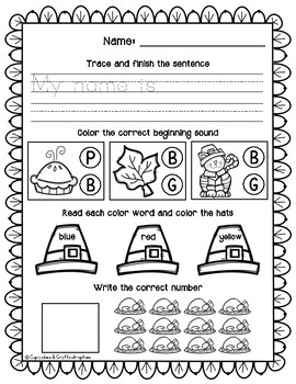 SAMPLE November Morning Work Kindergarten