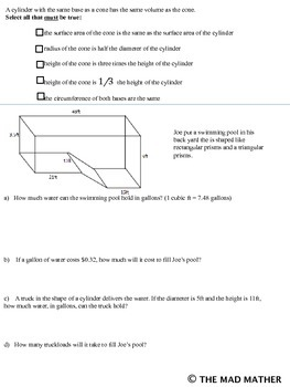 SAMPLE OF VOLUME & SURFACE AREA