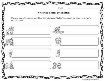 SAMPLE Relationship Skills Part 4:  Write the Room Plus Worksheets and Writing