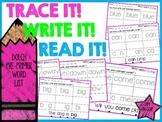 Trace It! Write It! Read It! Sight Word Intervention *Pre-Primer List Sample*
