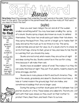 SAMPLE Sight Word Stories-Fluency and Comprehension Practice