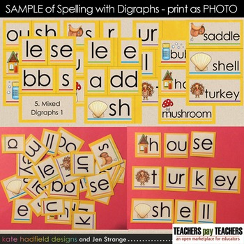 SAMPLE: Spelling with Digraphs - 216 words w/ Movable Alphabets (Photo Printing)