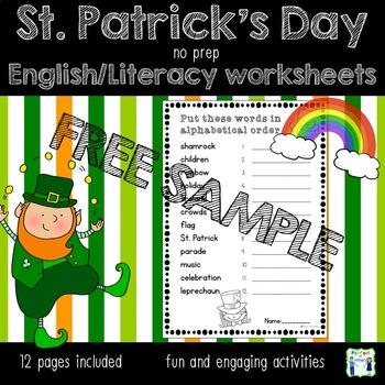 SAMPLE St. Patrick's Day no prep English worksheets