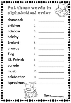 SAMPLE St. Patrick's Day no prep English worksheets by Perfect for ...