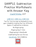 SAMPLE Subtraction Practice Worksheets