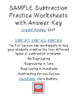 SAMPLE Subtraction Practice Worksheets