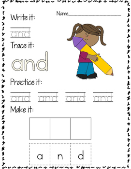 SAMPLE Write it, Trace it, Practice it, Make it Sight Word Practice