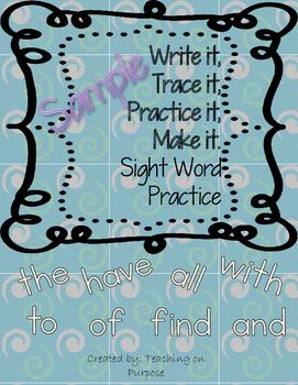 SAMPLE Write it, Trace it, Practice it, Make it Sight Word
