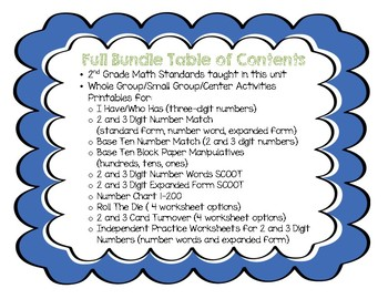 SAMPLE of 3 Digit Number Unit Bundle, Whole Group, Small Group, Centers