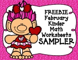SAMPLER February Math Worksheets for Kindergarten FREEBIE