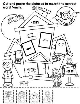 SAMPLER:  Halloween Word Families Cut and Paste Freebie