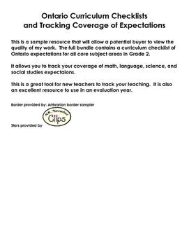 SAMPLETracking Ontario Curriculum and ChecklistBundle Gr2