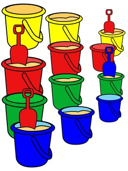SAND BUCKET CLIP ART * COLOR AND BLACK AND WHITE