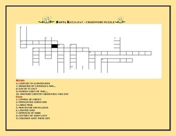 SANTA LUCIA DAY: A FEAST DAY: CROSSWORD PUZZLE: GRADES 3-6