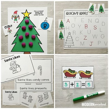 SANTA Literacy & Match Centers for Christmas (Preschool, PreK, Kindergarten)