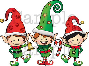 SANTA'S LIL HELPERS Clipart. BLACK AND WHITE & Color Bundle. {Lilly Silly Billy}