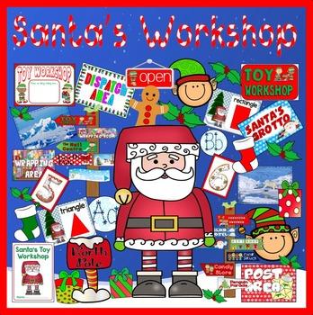 SANTA'S TOY WORKSHOP ROLE PLAY TEACHING RESOURCES CHRISTMAS DISPLAY EYFS KS1