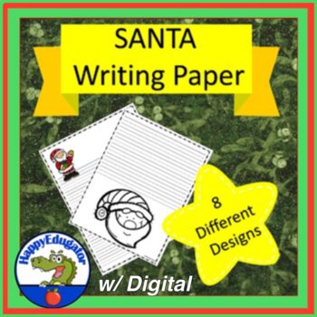 SANTA  Writing Paper - Lined Paper - Santa Theme