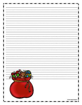 SANTA  Writing Paper - Lined Paper - Santa Theme