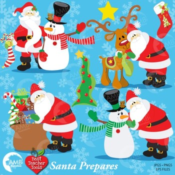 Christmas Clipart, SANTA and Reindeer Clipart, AMB-121