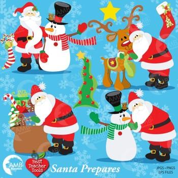 Christmas Clipart, SANTA and FRIENDS Cliparts AMB-121