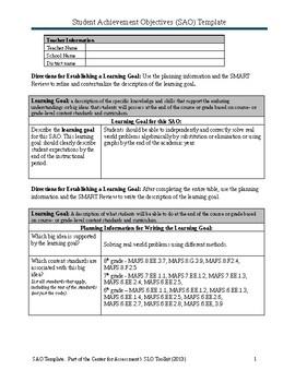 SAO planning Math grade 6-8 - for a Math Interventist