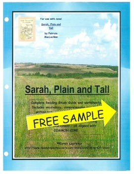 SARAH, PLAIN AND TALL - FREE novel study guide ELA Common Core