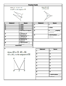 Geometric Proofs: SAS & SSS Guided Notes and Practice
