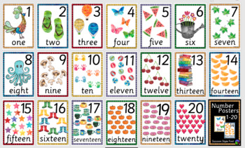 SASSOON STYLE  FONT watercolour NUMBER POSTERS ~ 1 to 20